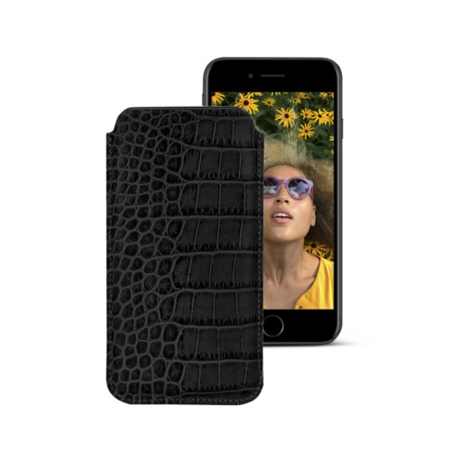 Classic case for iPhone 7 - Black - Crocodile style calfskin