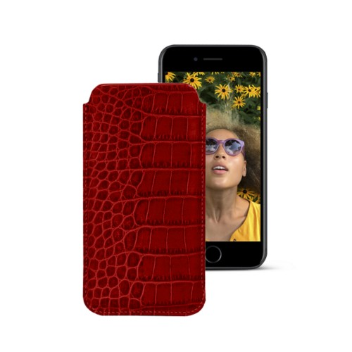 Classic case for iPhone 7 - Red - Crocodile style calfskin