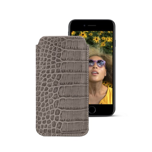 Classic case for iPhone 7 - Light Taupe - Crocodile style calfskin