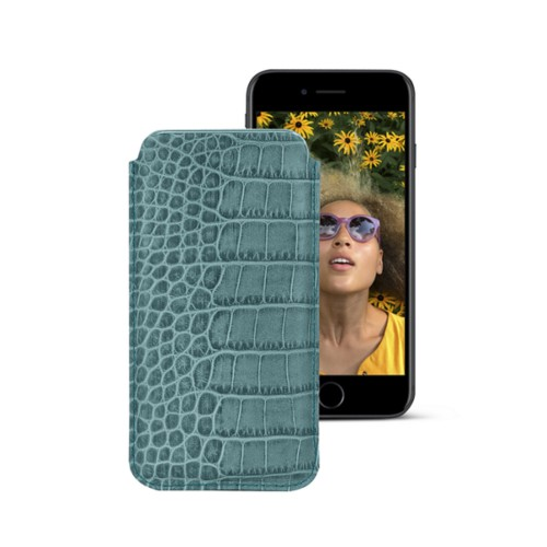 Classic case for iPhone 7 - Turquoise - Crocodile style calfskin