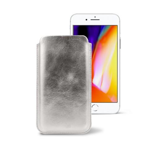iPhone 8 slim sleeve - Silver - Metallic Leather