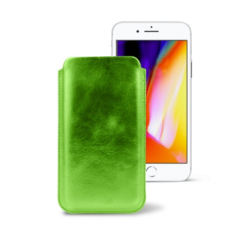 iPhone 8 slim sleeve - Light Green - Metallic Leather