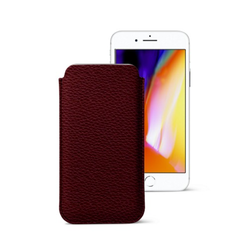 iPhone 8 slim sleeve - Burgundy - Granulated Leather