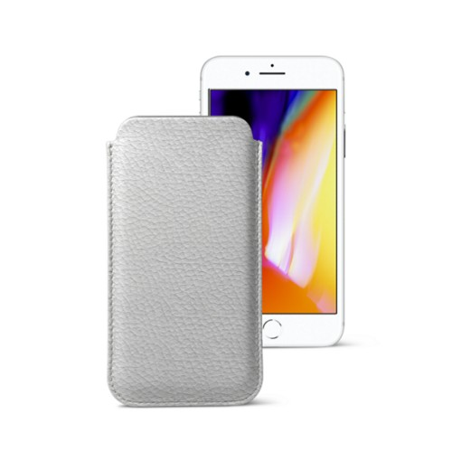 iPhone 8 slim sleeve - White - Granulated Leather