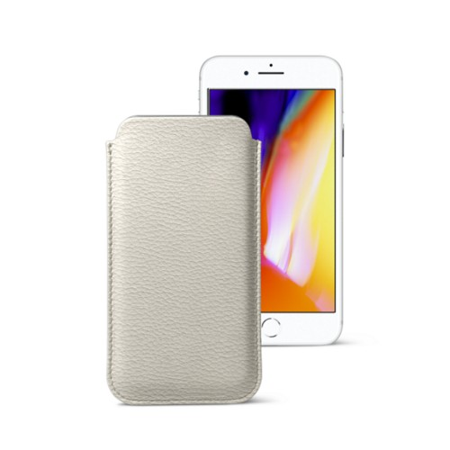 iPhone 8 slim sleeve - Off-White - Granulated Leather