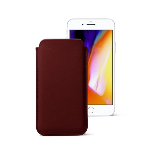 iPhone 8 slim sleeve - Burgundy - Smooth Leather