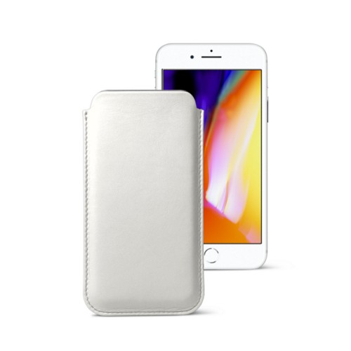 iPhone 8 slim sleeve - White - Smooth Leather