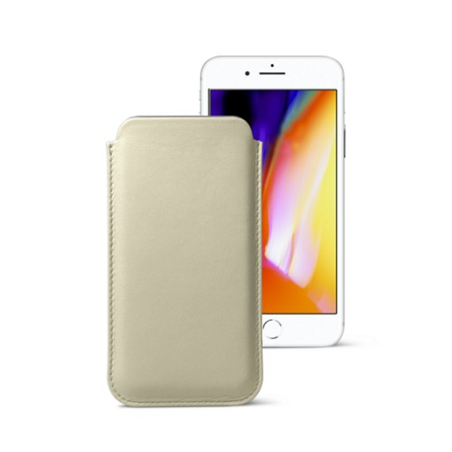 iPhone 8 slim sleeve - Off-White - Smooth Leather