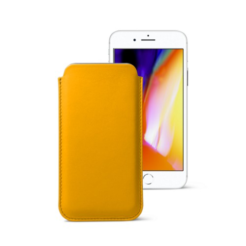 iPhone 8 slim sleeve - Sun Yellow - Smooth Leather