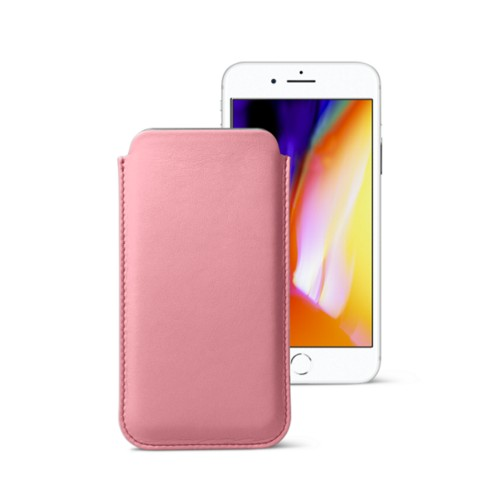 iPhone 8 slim sleeve - Pink - Smooth Leather