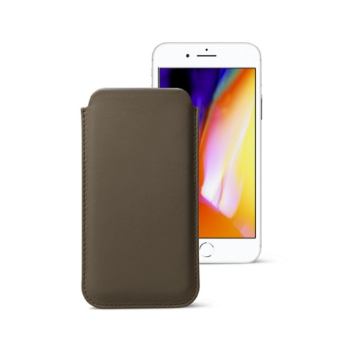 iPhone 8 slim sleeve - Dark Taupe - Smooth Leather