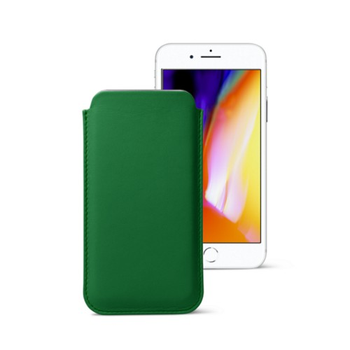 iPhone 8 slim sleeve - Light Green - Smooth Leather