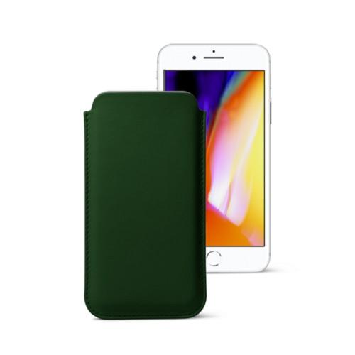 iPhone 8 slim sleeve - Dark Green - Smooth Leather