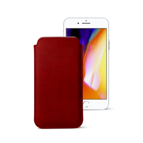 iPhone 8 slim sleeve - Carmine - Vegetable Tanned Leather