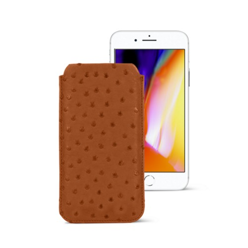iPhone 8 slim sleeve - Tan - Real Ostrich Leather