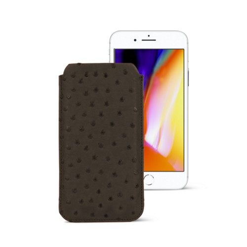 iPhone 8 slim sleeve - Dark Brown - Real Ostrich Leather