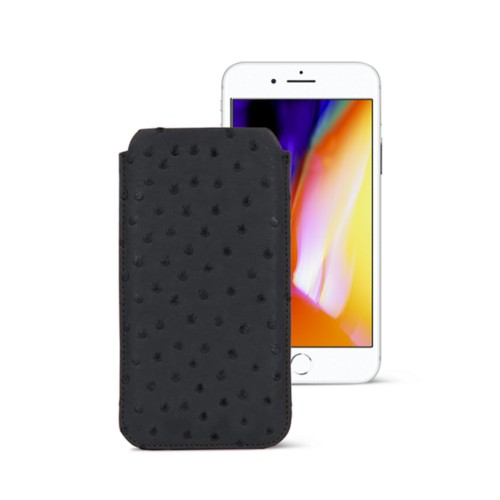 iPhone 8 slim sleeve - Black - Real Ostrich Leather