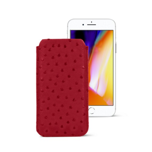 iPhone 8 slim sleeve - Red - Real Ostrich Leather