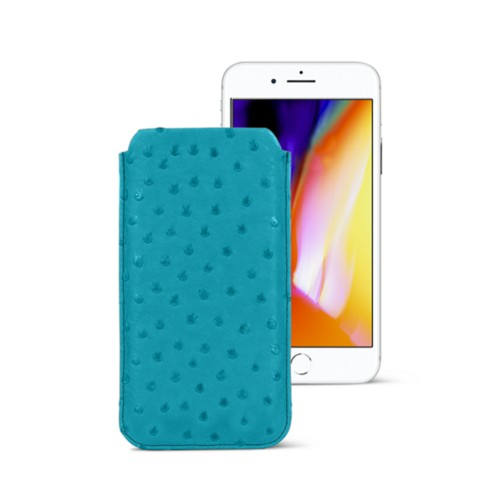 iPhone 8 slim sleeve - Turquoise - Real Ostrich Leather