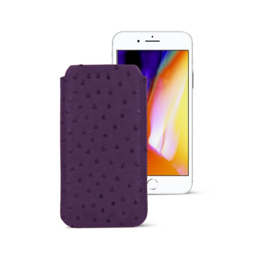 iPhone 8 slim sleeve - Purple - Real Ostrich Leather
