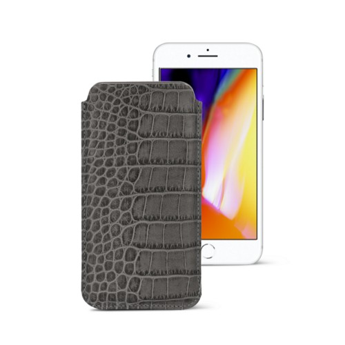 iPhone 8 slim sleeve - Mouse-Grey - Crocodile style calfskin