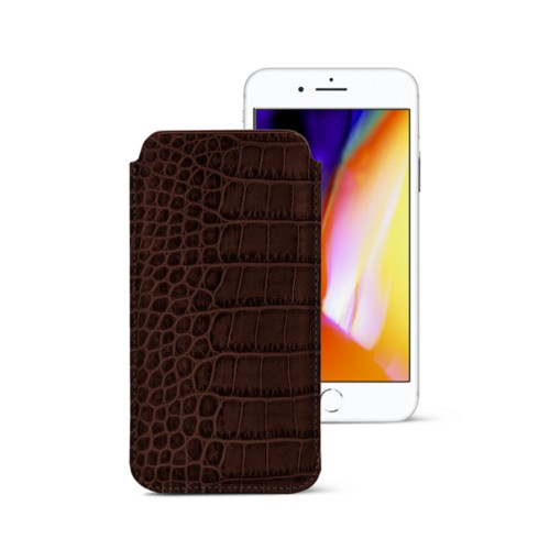 iPhone 8 slim sleeve - Dark Brown - Crocodile style calfskin