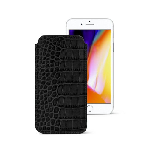 iPhone 8 slim sleeve - Black - Crocodile style calfskin