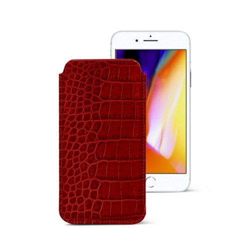iPhone 8 slim sleeve - Red - Crocodile style calfskin