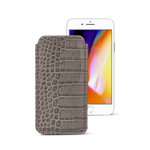 iPhone 8 slim sleeve - Light Taupe - Crocodile style calfskin