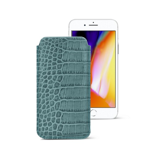 iPhone 8 slim sleeve - Turquoise - Crocodile style calfskin