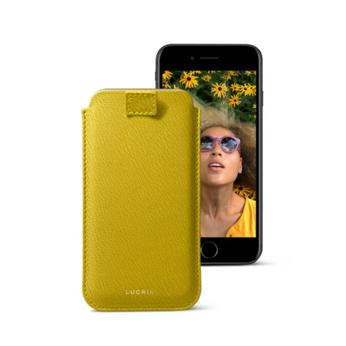 iPhone 7 case with pull-up strap - Lemon Yellow - Goat Leather