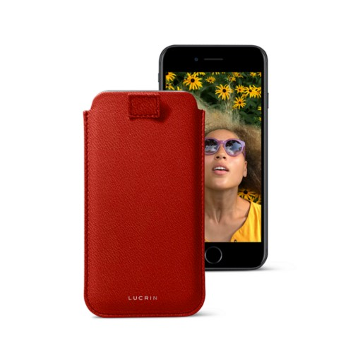iPhone 7 case with pull-up strap - Red - Goat Leather