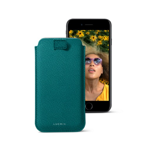iPhone 7 case with pull-up strap - Sea Green - Goat Leather