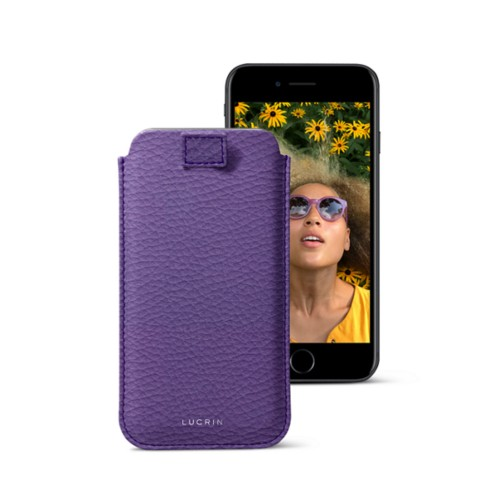 iPhone 7 case with pull-up strap - Lavender - Granulated Leather