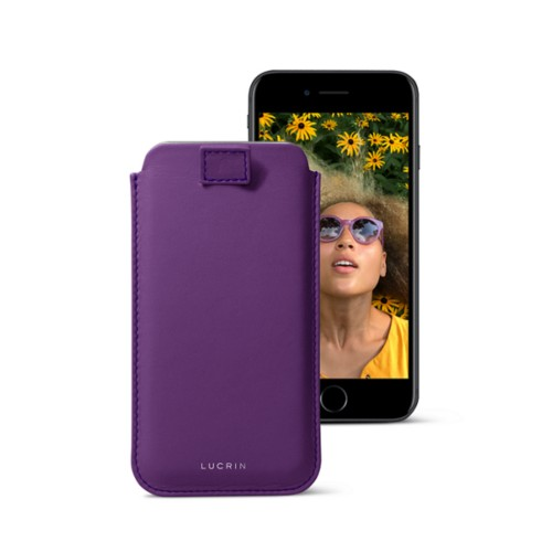 iPhone 7 case with pull-up strap - Lavender - Smooth Leather
