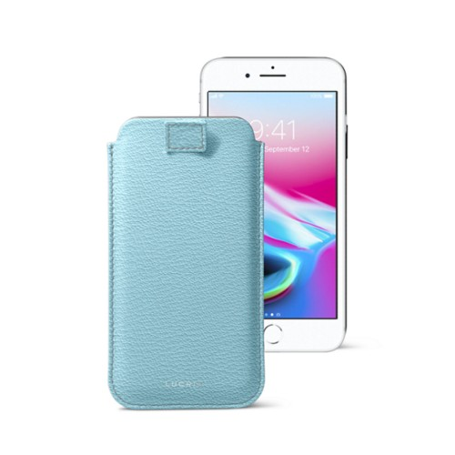 iPhone 8 case with pull-up tab - Sky Blue - Goat Leather