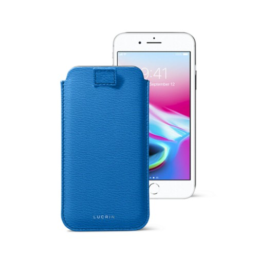 iPhone 8 case with pull-up tab - Royal Blue - Goat Leather