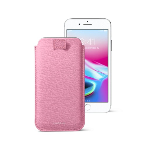 iPhone 8 case with pull-up tab - Pink - Goat Leather