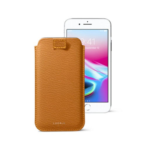 iPhone 8 case with pull-up tab - Saffron - Goat Leather