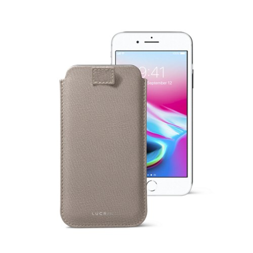 iPhone 8 case with pull-up tab - Light Taupe - Goat Leather