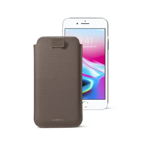 iPhone 8 case with pull-up tab - Dark Taupe - Goat Leather