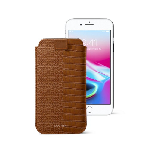 iPhone 8 case with pull-up tab - Camel - Crocodile style calfskin