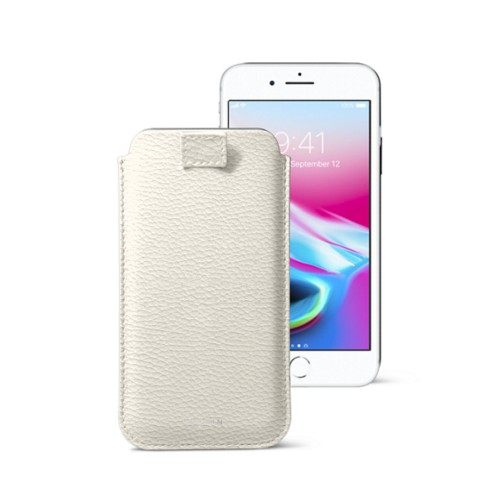iPhone 8 case with pull-up tab - Off-White - Granulated Leather