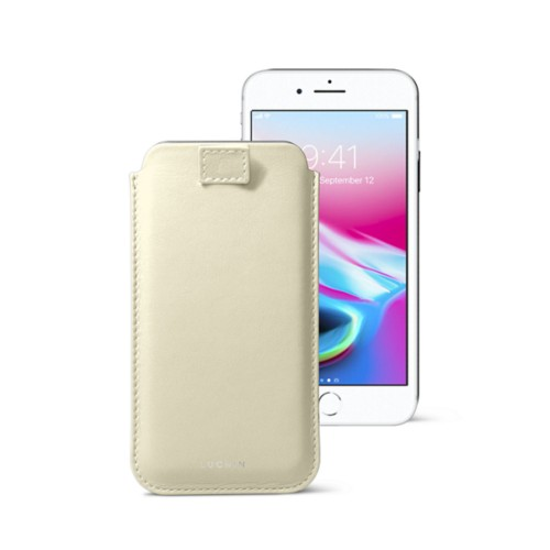 iPhone 8 case with pull-up tab - Off-White - Smooth Leather