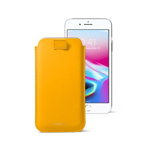 iPhone 8 case with pull-up tab - Sun Yellow - Smooth Leather