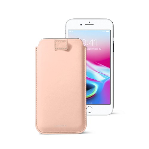 iPhone 8 case with pull-up tab - Nude - Smooth Leather
