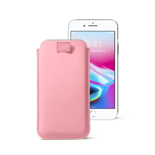 iPhone 8 case with pull-up tab - Pink - Smooth Leather