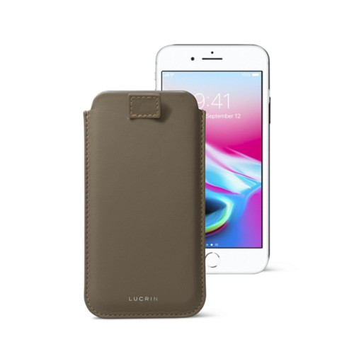 iPhone 8 case with pull-up tab - Dark Taupe - Smooth Leather