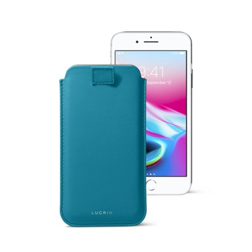 iPhone 8 case with pull-up tab - Turquoise - Smooth Leather