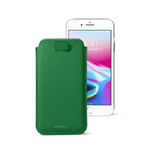 iPhone 8 case with pull-up tab - Light Green - Smooth Leather